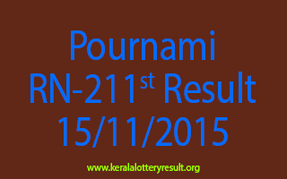 Pournami RN 211 Lottery Result 15-11-2015
