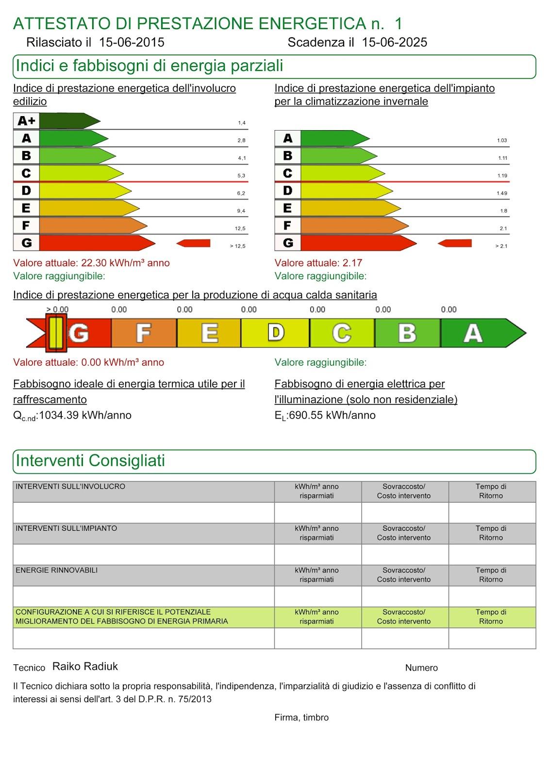 Facsimile attestato di prestazione - Certificazione energetica e contratto di locazione ...