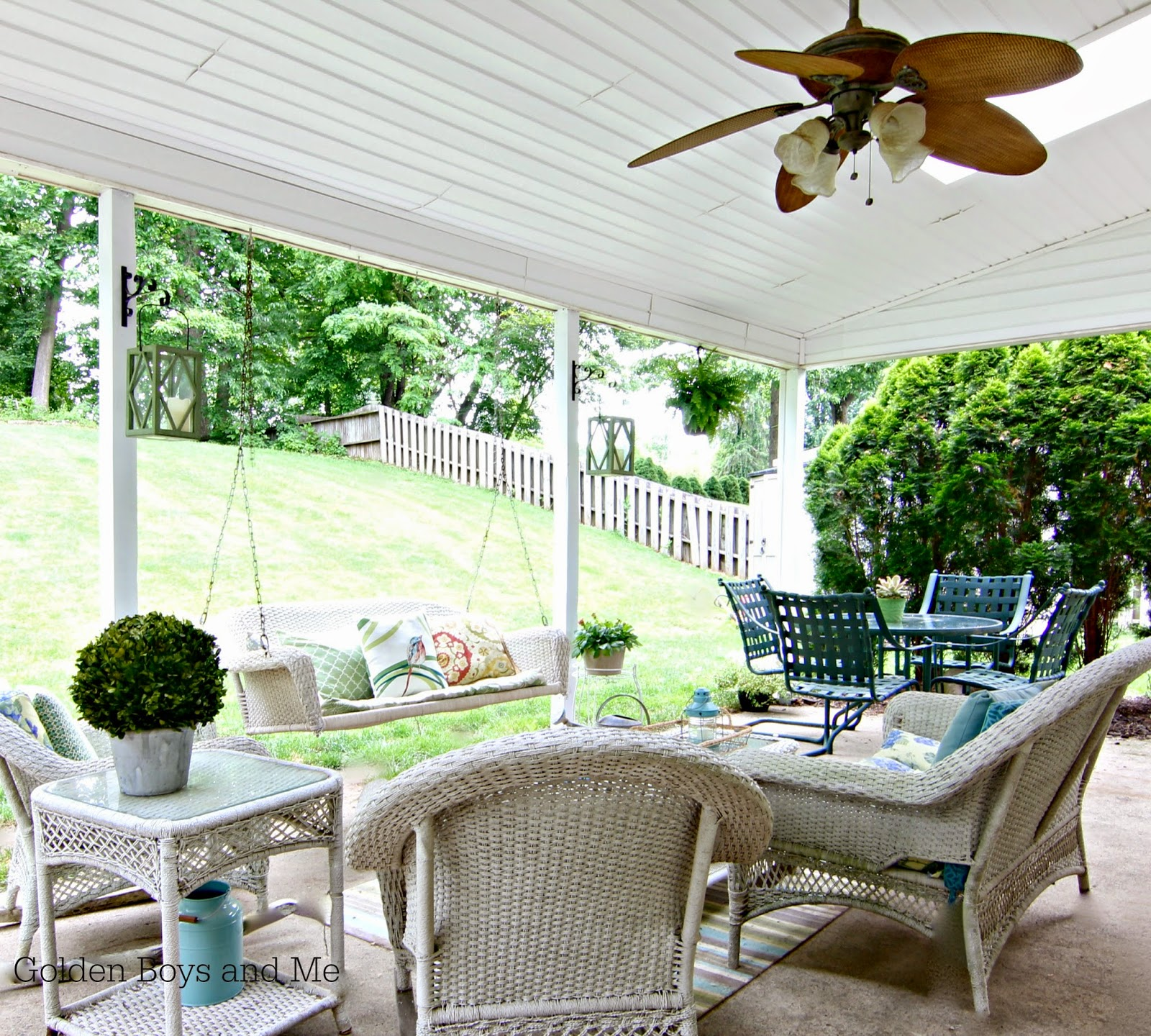 covered porch furniture. covered patio with vinyl beadboard soffit and white wicker porch furniture swingwww e