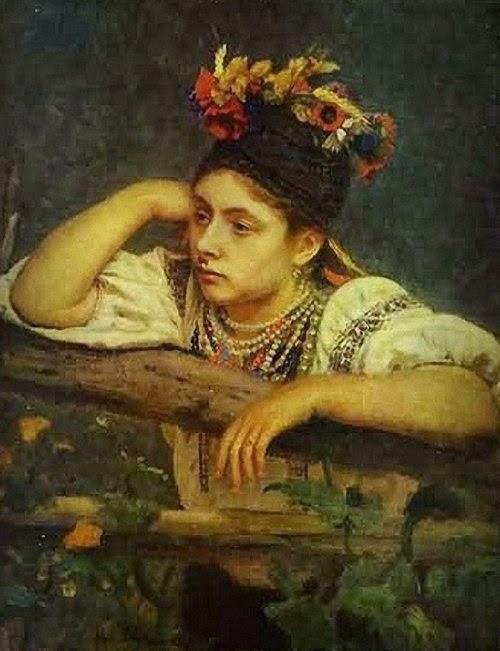 Илья Ефимович Репин. Украинка у плетня. 1875 г.