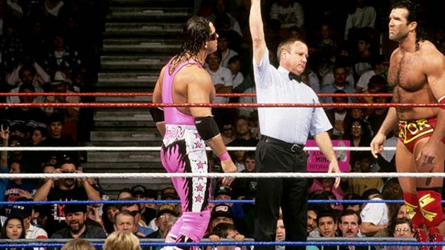 Bret Hart and Razor Ramon in the ring.