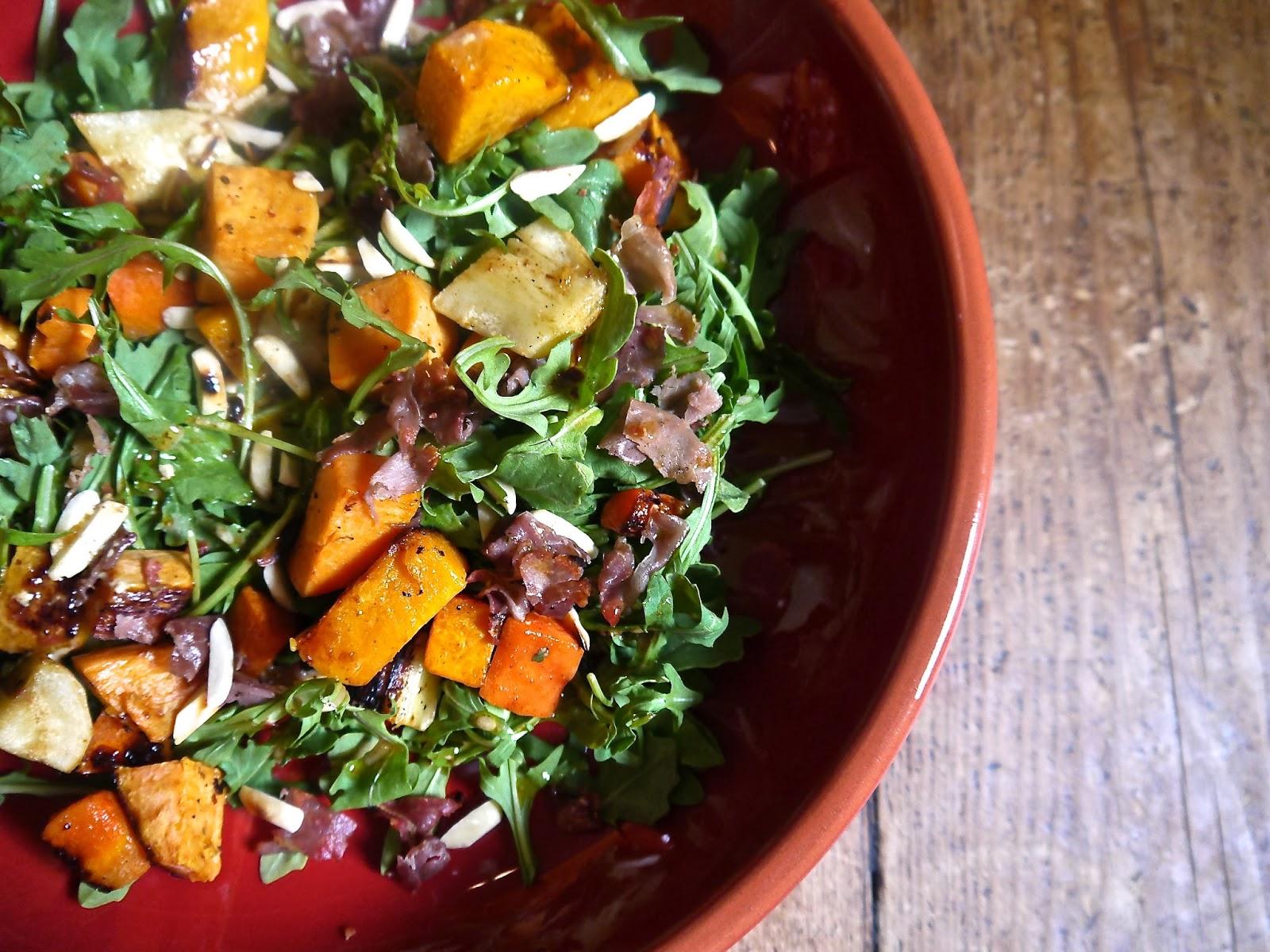 Roasted Vegetable, Arugula And Avocado Salad Recipe — Dishmaps