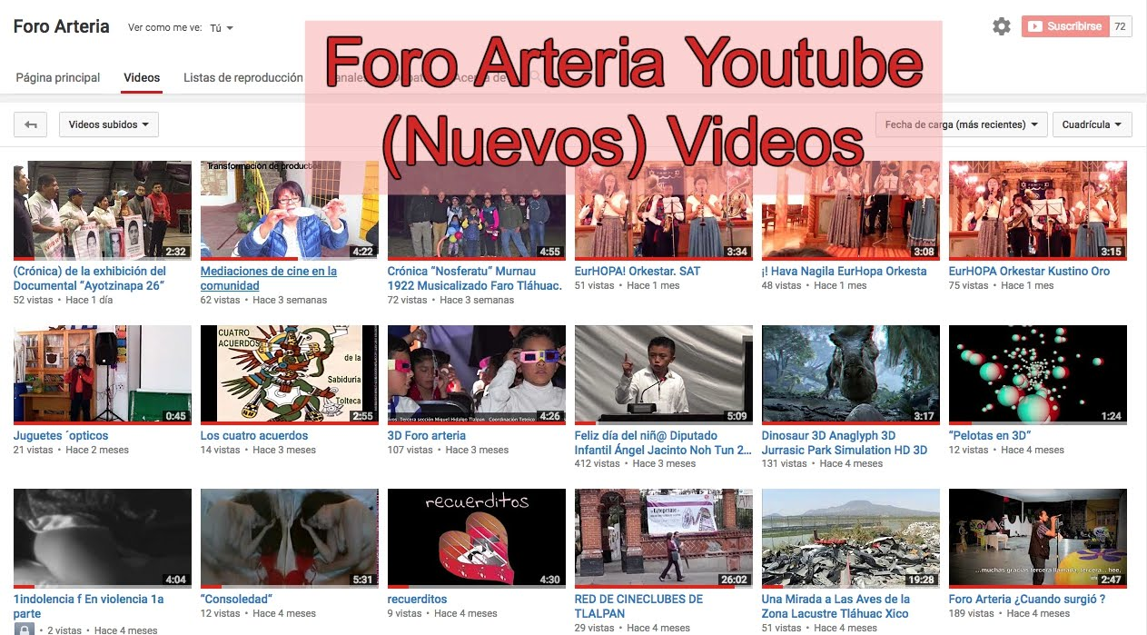 Foro Arteria en Youtube