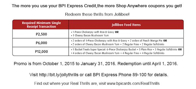 BPI Real Thrills Jollibee Promo