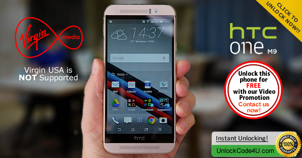 Factory Unlock Code HTC One M9 from Vigin Australia