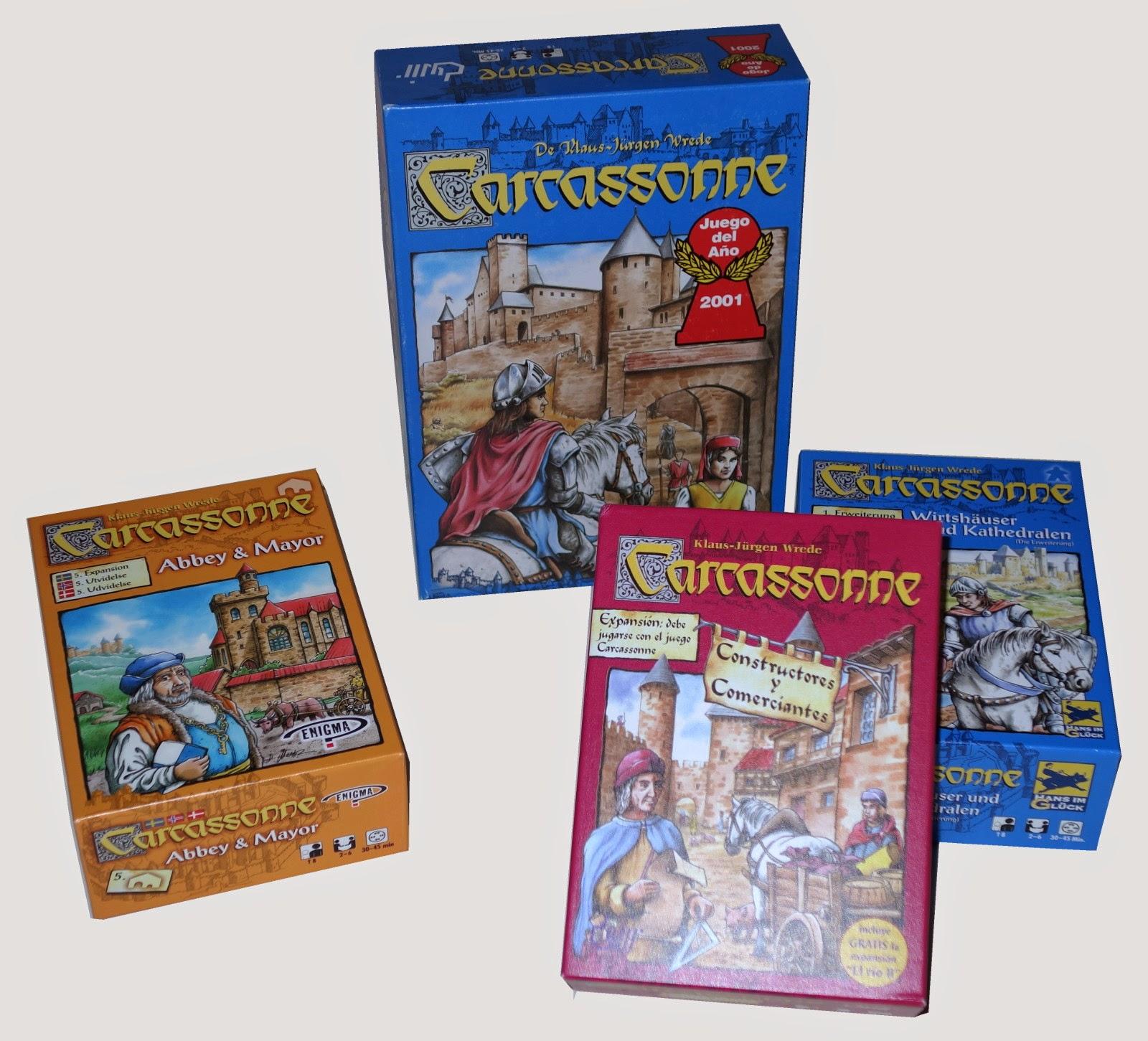 Carcassonne básico y ampliaciones en varios idiomas