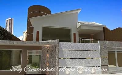 Construindo minha casa clean fachadas de casas com muros for Fachadas de casas modernas com jardim