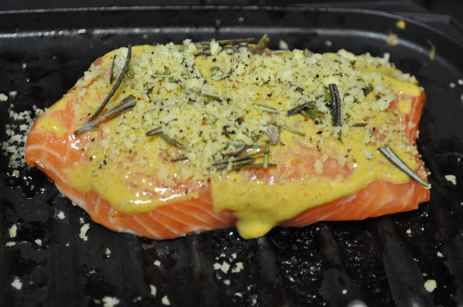 ... Perfect Plating: Grilled Salmon with Mustard and Lemon Herb Crust