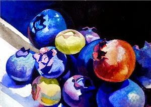 Blueberries 5 x 7  Watercolour