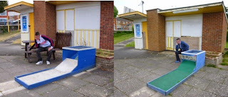 Minigolf explorer Richard Gottfried sat outside the closed Crazy Golf course hut in Skegness in May 2011 and May 2015