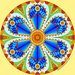 Flower mandala with a blank version to color