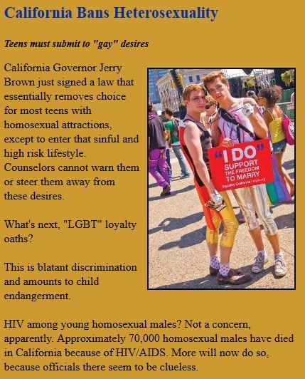 California Bans Heterosexuality