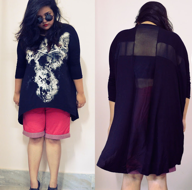 Black Asymetric T-shirt with Skull Print and Sheer Back Panels