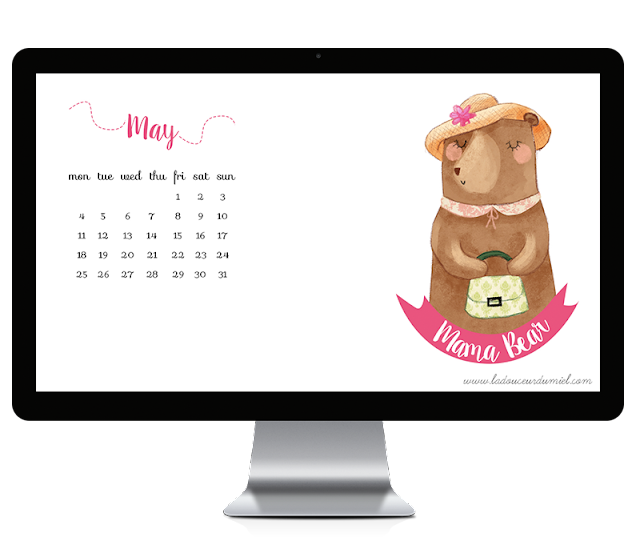 may 2015 illustrated desktop wallpaper with mama bear