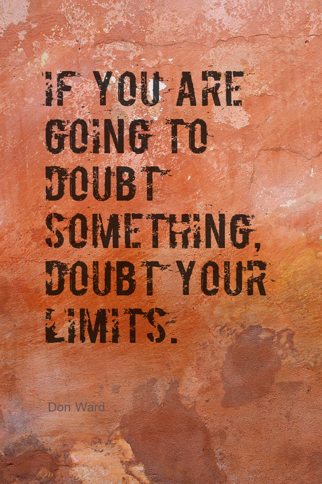 visual quote - image quotation for POTENTIAL - If you are going to doubt something, doubt your limits. - Don Ward