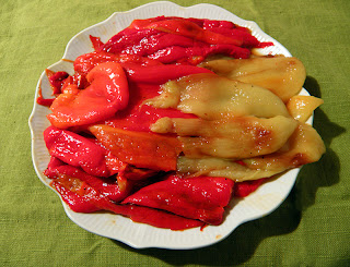Plate of Red, Orange, and Yellow Roasted Peppers