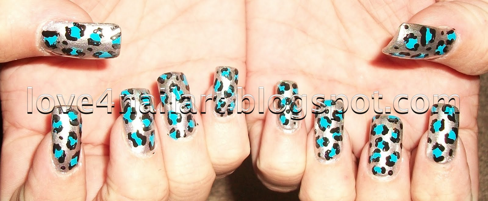 Love4NailArt: Silver/Blue Leopard Animal Print Nail Design