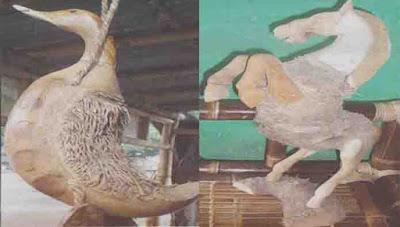 gabungan patung kuda dan kentungan bebek, kerajinan bambu Probolinggo Jawa Timur
