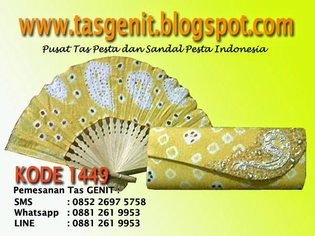 tas pesta batik, dompet batik, clutch bag unik, kipas batik, tas kondangan