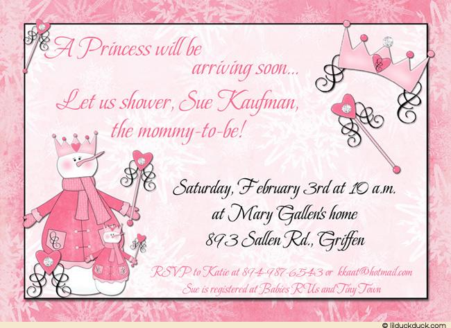 Snow Princess Baby Shower Invitation