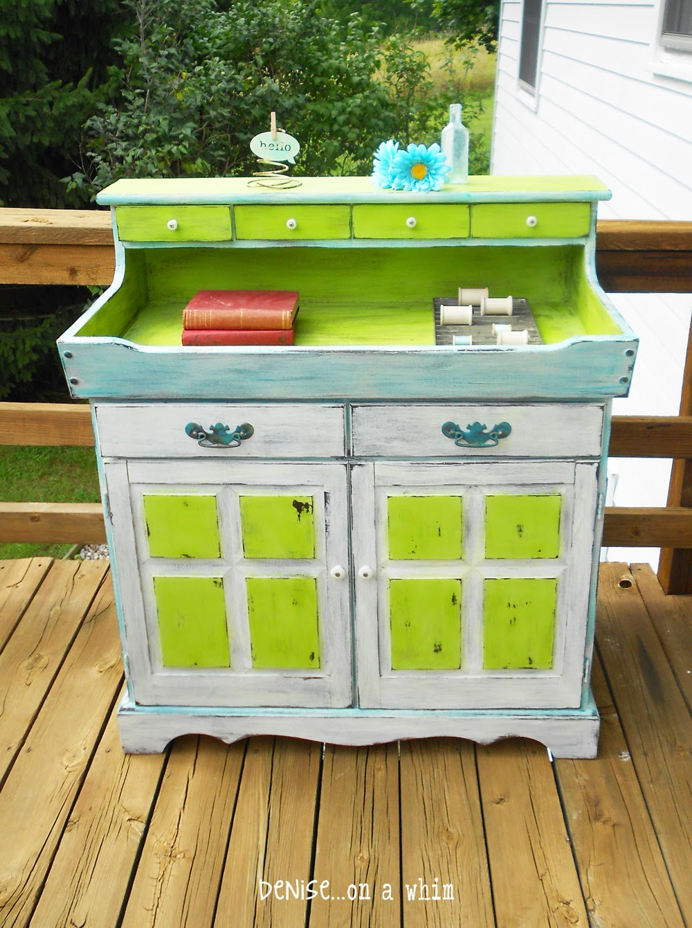 A real eye-catcher! Dry Sink Makeover in Teal and Green by Denise On a Whim