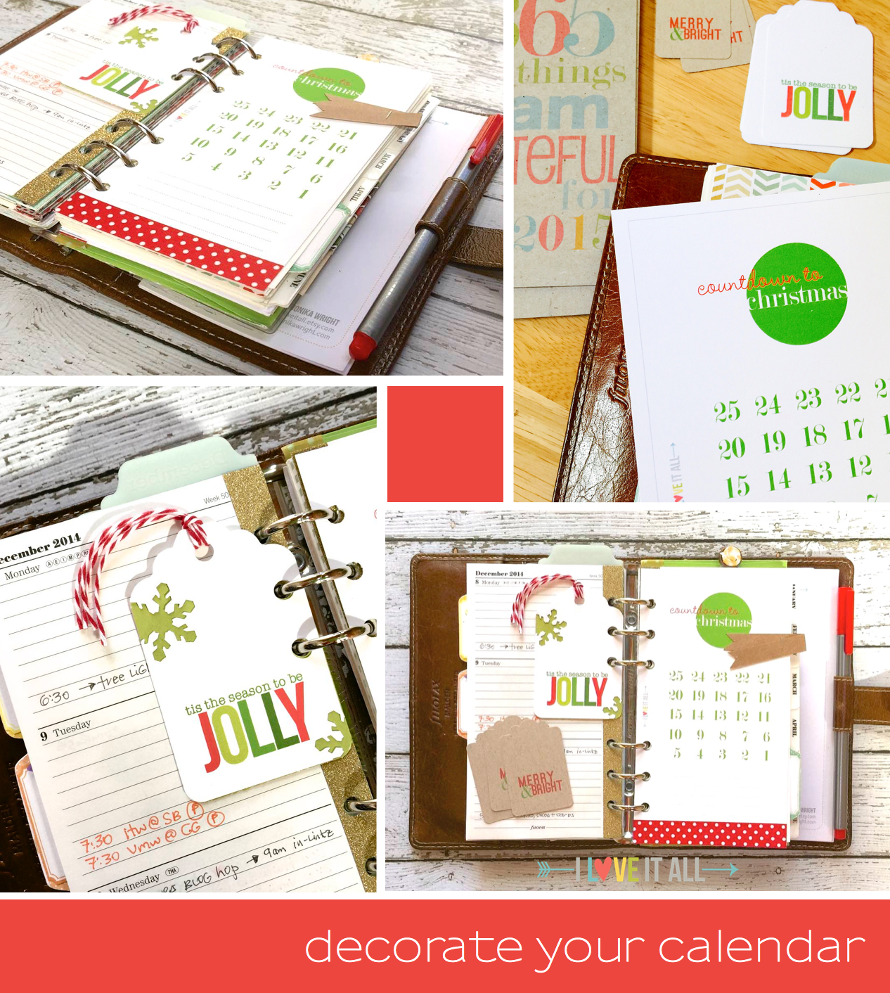 Print your Countdown to Christmas calendar in both planner size and full page versions. | I Love It All