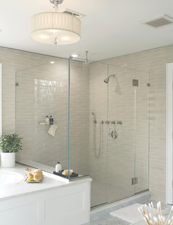 classic bathroom // grey shower subway tile