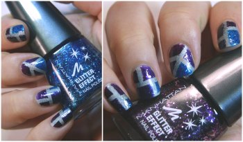 Glitter Holo Nail Art with Striping Tape