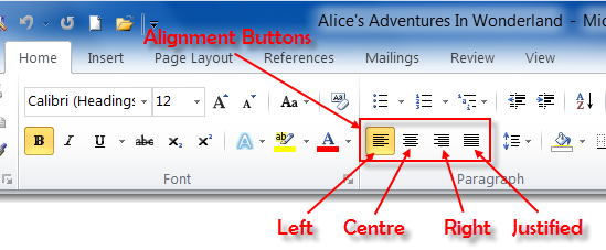 Text Alignment buttons on Home Tab of Microsoft Word