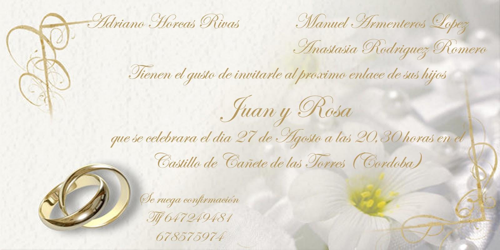 Top texto para invitaciones de boda wallpapers - Tarjeta de boda ...