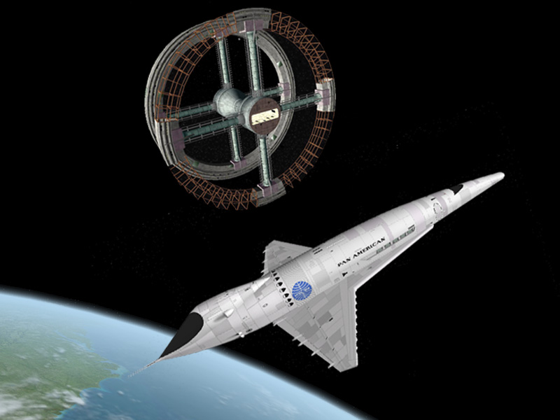 The shuttle and incomplete space station in 2001: A Space Odyssey movieloversreviews.blogspot.com
