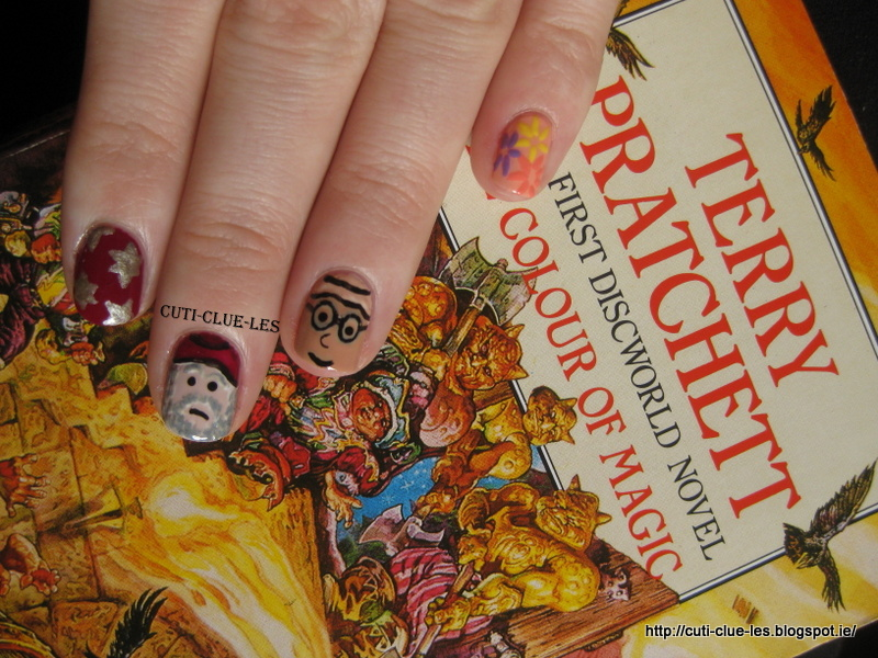 the first book as ye can already tell is the colour of magic for this manicure i kept it pretty simple i based it on the 2 main characters in the book - The Color Of Magic Book