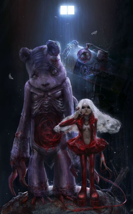 Kuang Hong illustrations fantasy dark grim The bloody call