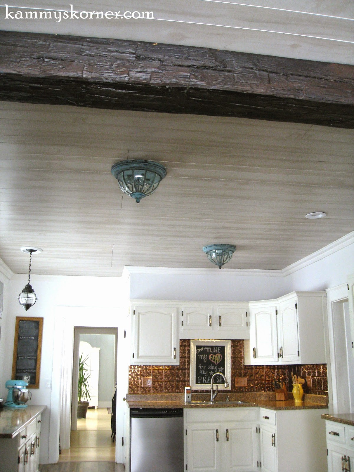 Kammy S Korner Whitewash Paneled Kitchen Ceiling