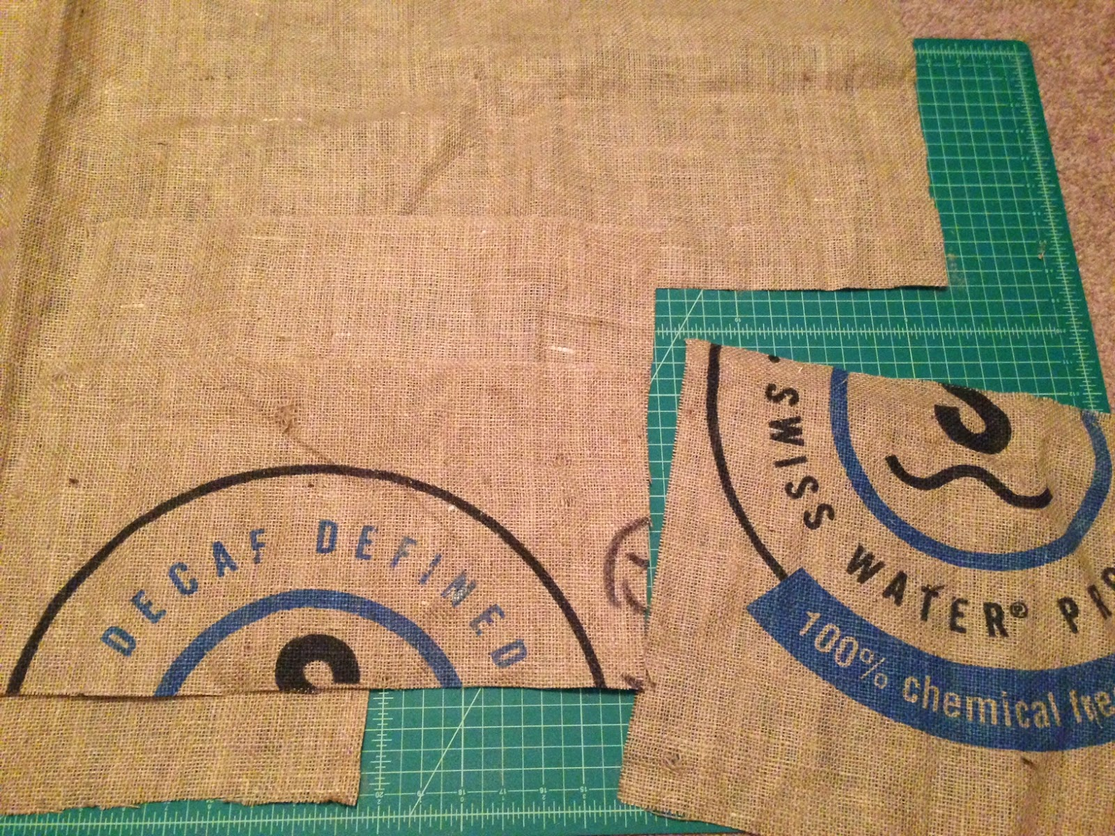 burlap Grounds bag in progress  - Lina and Vi