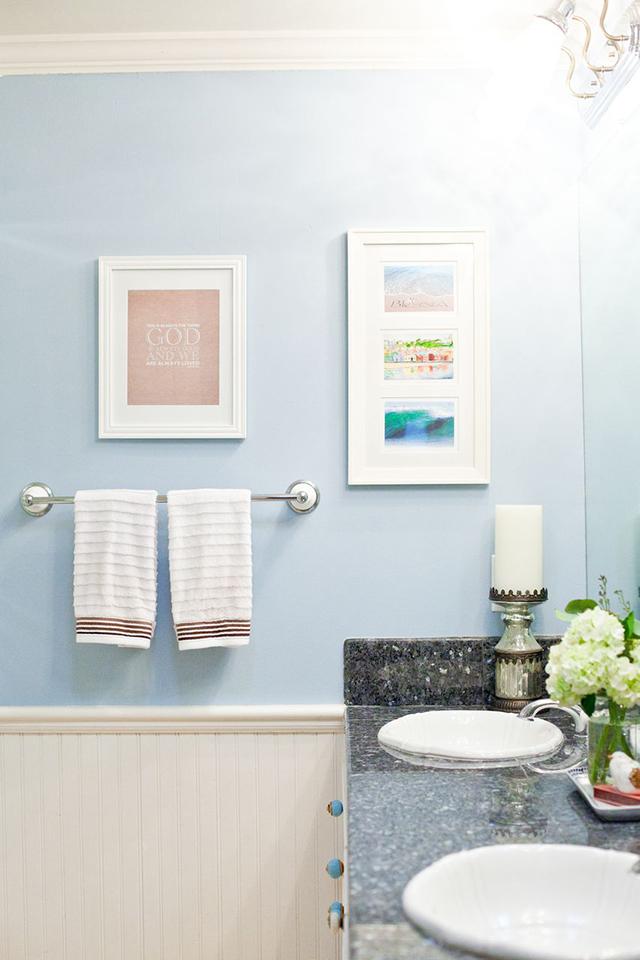 Bathroom paint reveal serene sky blue michaela noelle for Sky blue bathroom designs