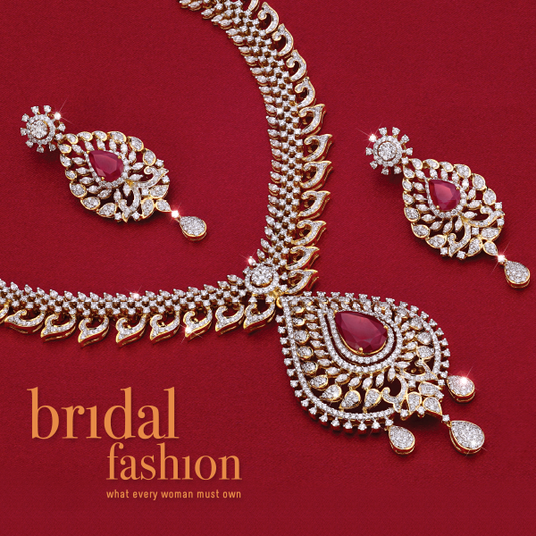 diamond and ruby studded bridal necklace set by PNG diamonds