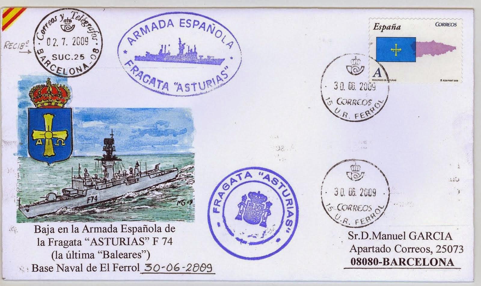 """Sobre filatélico ilustrado por M.García para recordar la baja de la Armada del """"MARSOPA"""""""