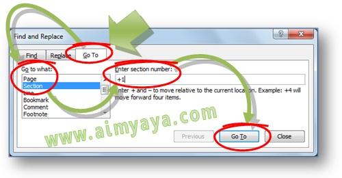 Gambar: Cara membuka atau menuju halaman section tertentu menggunakan dialog Find and Replace di Microsoft Word