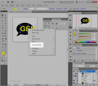 Klik kanan » Create Outlines - Cara Memotong Gambar Dengan Teks Tulisan - Illustrator AI