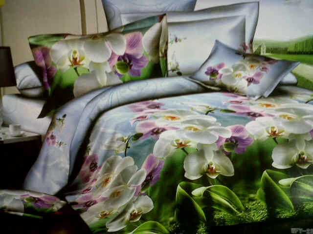 Sprei 3D Beautiful Orchid Katun Lokal
