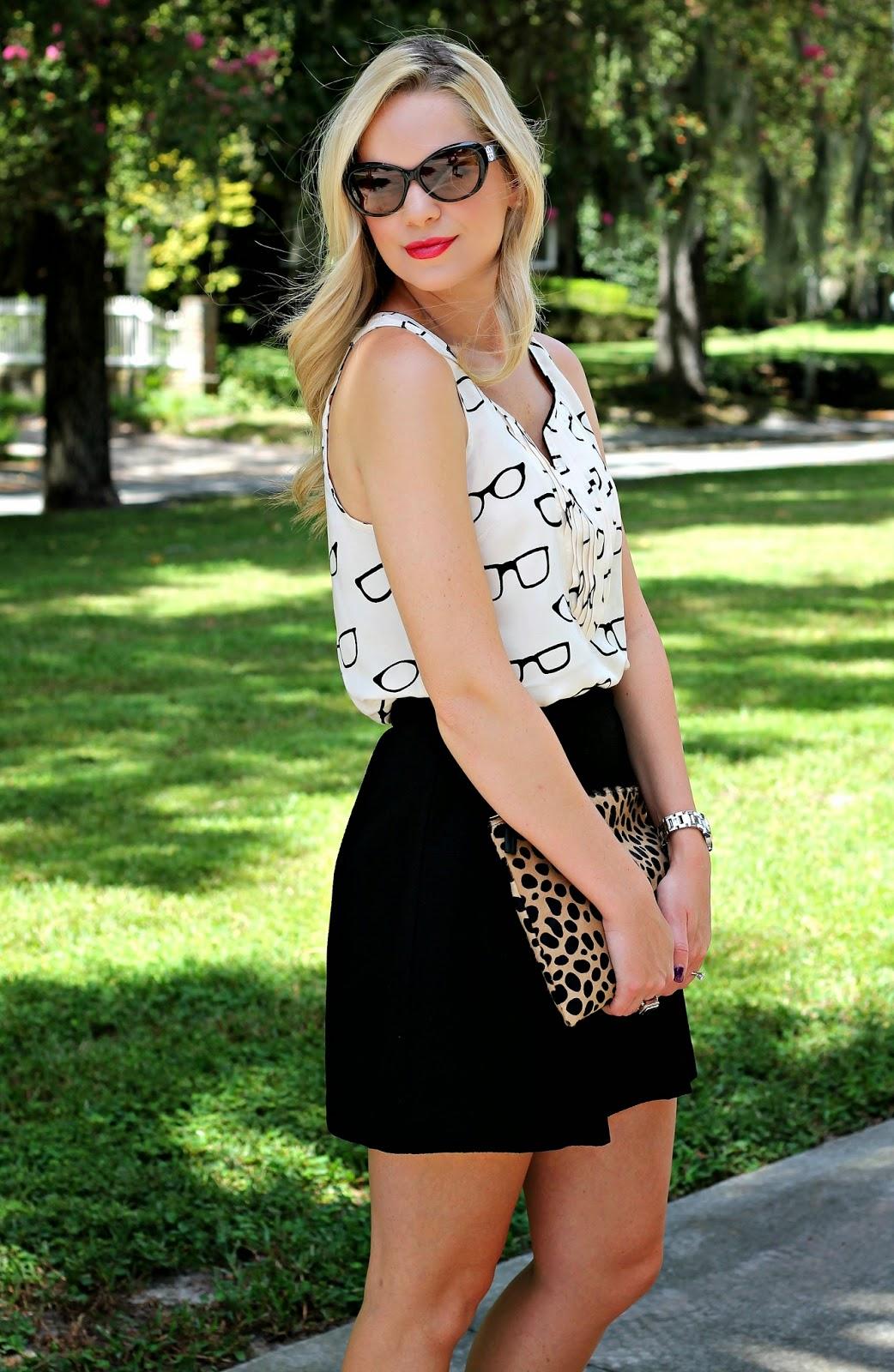 anthropologie, printed top, black skirt, leopard print, red lip, blonde, blonde hair