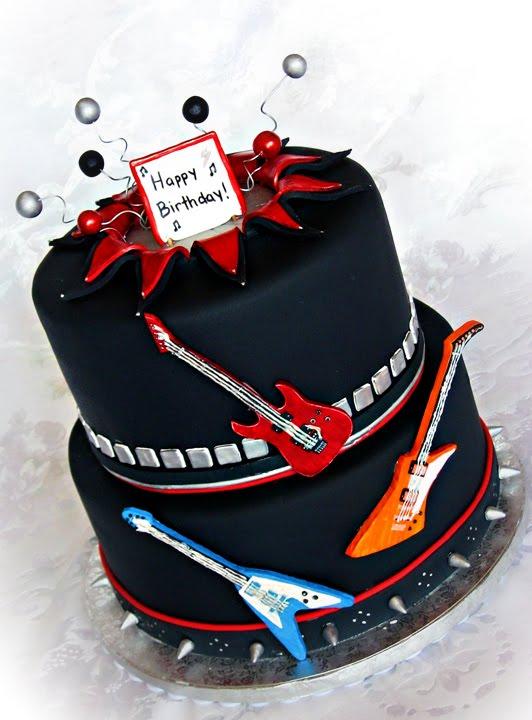 Metal Guitar Birthday Cake