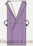 Bước 11: Gấp hai cạnh giấy về phía mặt đằng sau.