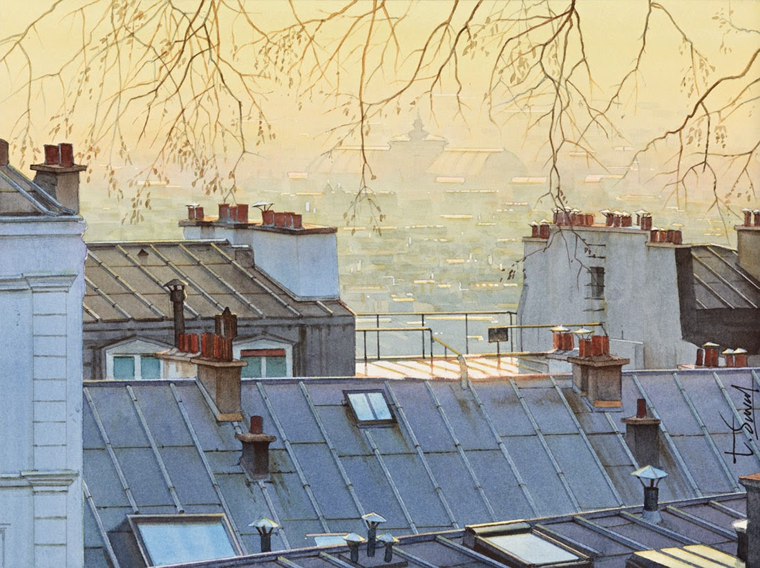 13-Paris-Thierry-Duval-Snippets-of Real-Life-in Watercolor-Paintings-www-designstack-co