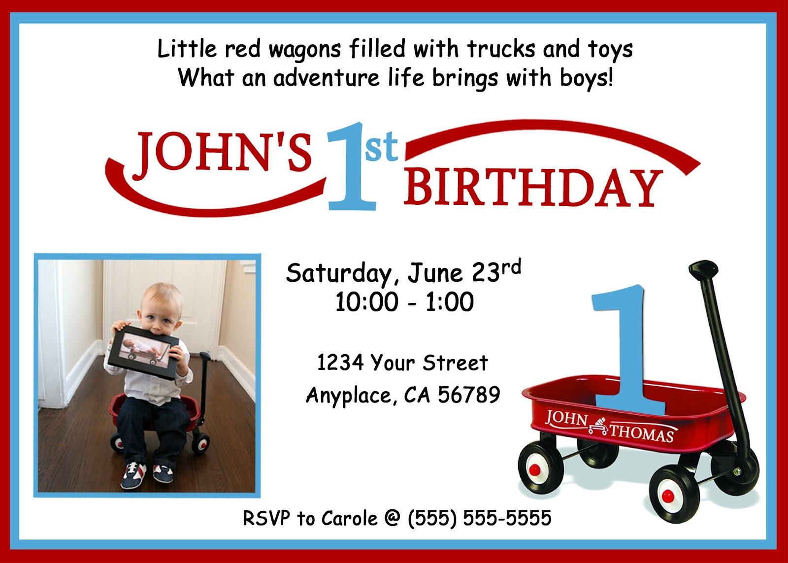 Invite and Delight Red Wagon First Birthday – Red Wagon Birthday Invitations