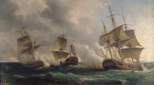 Gambar Kapal Layar Fegate lagi bertempur