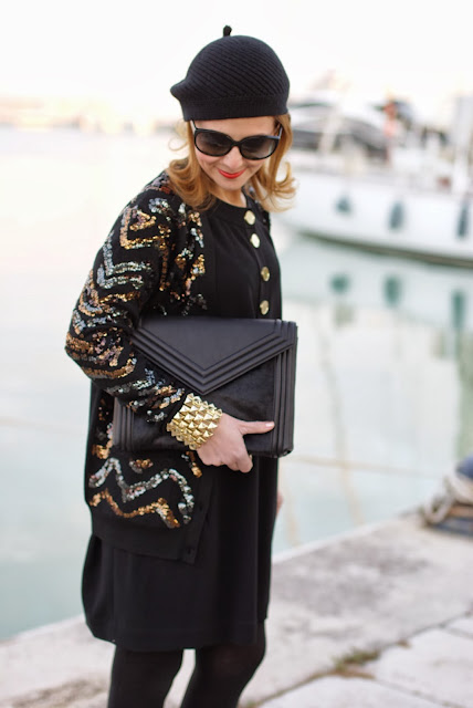 Black and golden sequin outfit, Asos golden bracelet, Marc by Marc Jacobs Hobbes cardigan, Fashion and Cookies, fashion blogger
