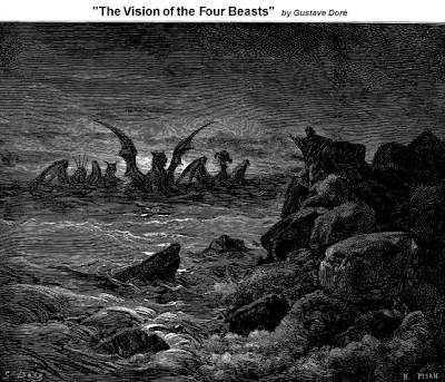 Vision of the Four Beasts by Gustave Dore - Daniel 7:1-8