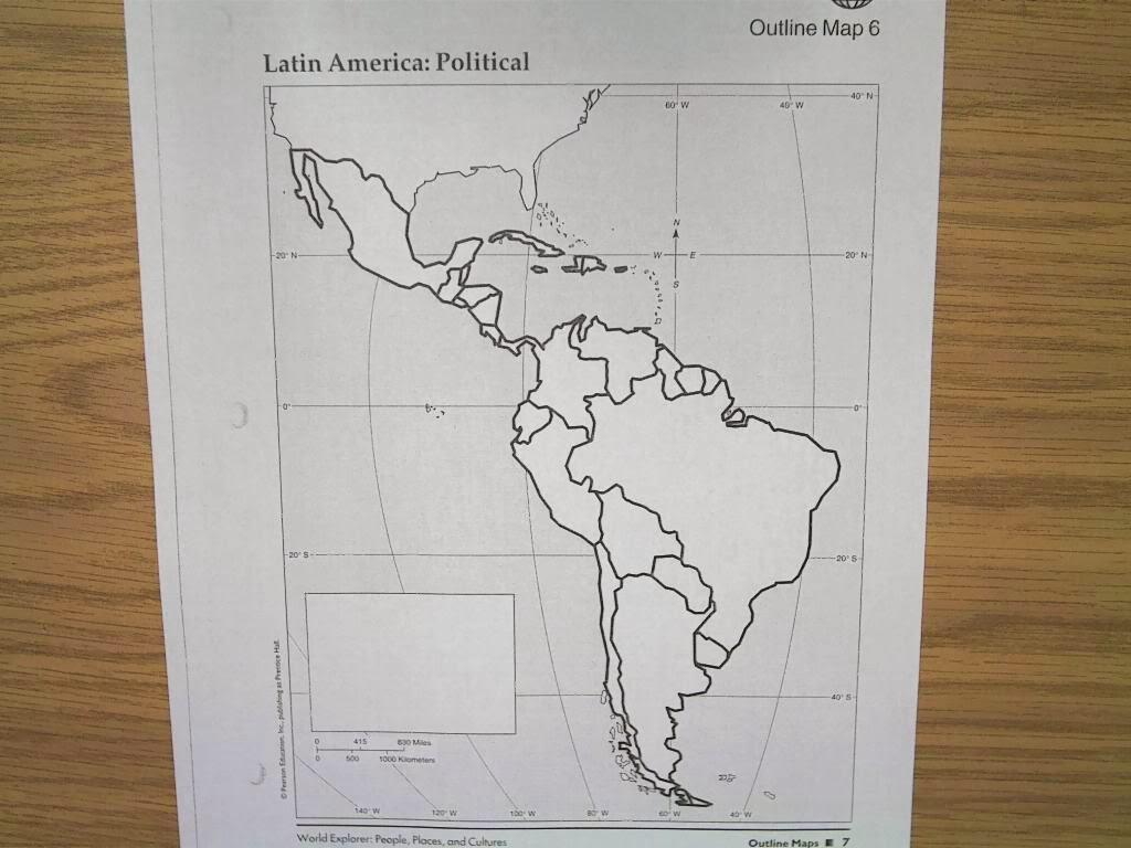BT Wilson Bobcat Social Studies Political Map of Latin America